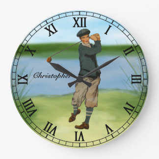 Personalized Vintage look Golfer Golf  swing Large Clock