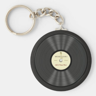 Personalized Vintage Microphone Vinyl Record Basic Round Button Keychain