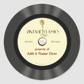 Personalized Vintage Microphone Vinyl Record Classic Round Sticker