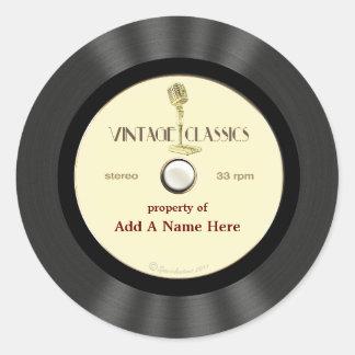 Personalized Vintage Microphone Vinyl Record Round Sticker