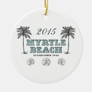 Personalized Vintage Myrtle Beach South Carolina Round Ceramic Ornament