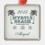 Personalized Vintage Myrtle Beach South Carolina Silver-Colored Square Ornament