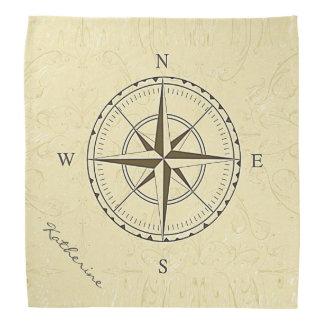 Personalized Vintage Nautical Compass Rose Ivory Bandana