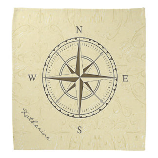 Personalized Vintage Nautical Compass Rose Ivory Do-rags