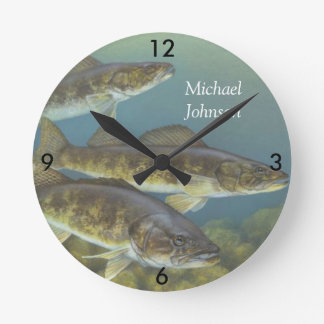 Personalized Vintage Painting of Walleye Pike Wall Clocks