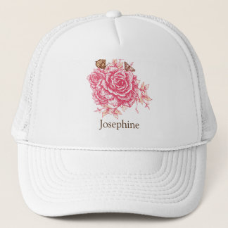 Personalized Vintage Pink Rose Butterfly Floral Trucker Hat