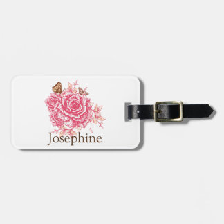 Personalized Vintage Pink Rose Flower Butterf Luggage Tag