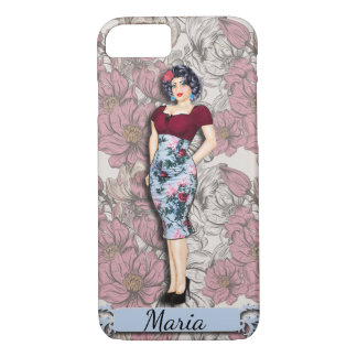 Personalized Vintage Pinup Girl, Black Hair iPhone 8/7 Case