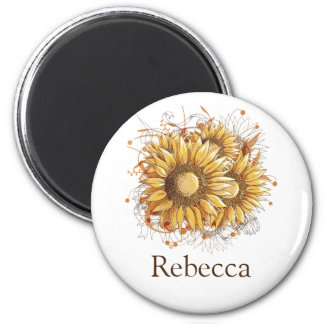 Personalized Vintage Pretty Sunflowers Magnet