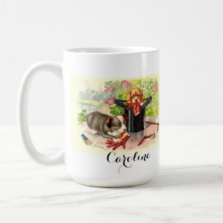 Personalized Vintage Puppies in Top Hat Mug