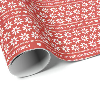 Personalized Vintage Red Fair Isle Star Christmas Wrapping Paper