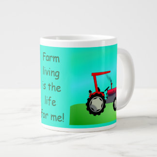 Personalized Vintage Red Farm Tractor Giant Coffee Mug