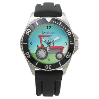 Personalized Vintage Red Farm Tractor Watch