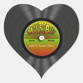 Personalized Vintage Reggae Vinyl Record Heart Sticker