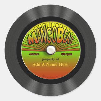Personalized Vintage Reggae Vinyl Record Round Sticker