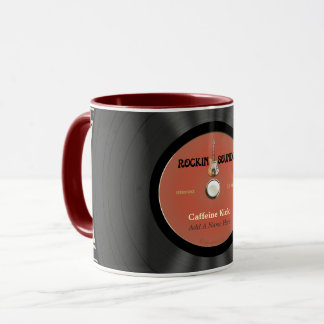 Personalized Vintage Rock Vinyl Record Mug