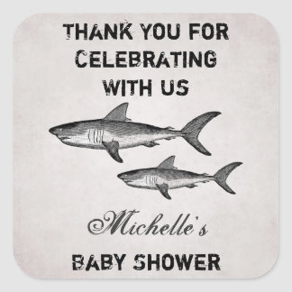 Personalized Vintage Shark Baby Shower Thank You Square Sticker