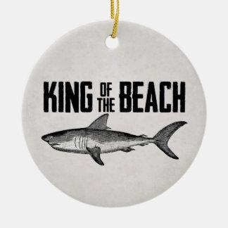 Personalized Vintage Shark Beach King Ceramic Ornament