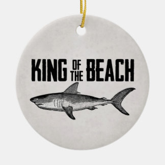 Personalized Vintage Shark Beach King Round Ceramic Ornament