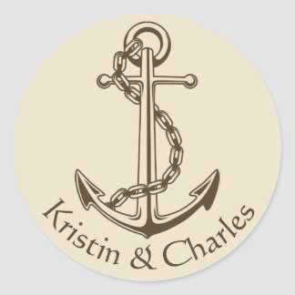 Personalized Vintage Ship Anchor Nautical Wedding Round Sticker