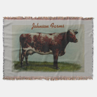 Personalized Vintage Shorthorn Cow Throw Blanket
