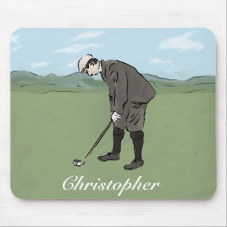 Personalized Vintage style golfer putting Mouse Pad