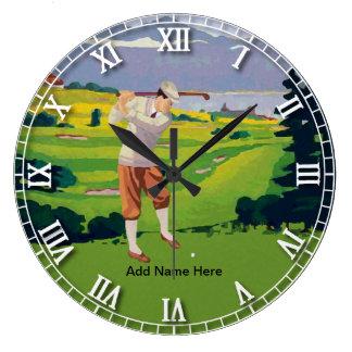 Personalized Vintage Style Highlands Golfing Scene Clocks