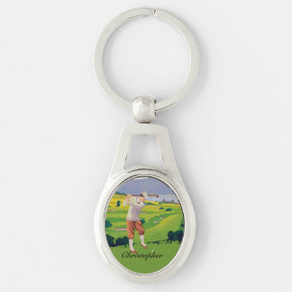 Personalized Vintage Style Highlands Golfing Scene Silver-Colored Oval Keychain