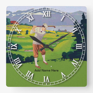 Personalized Vintage Style Highlands Golfing Scene Square Wall Clock