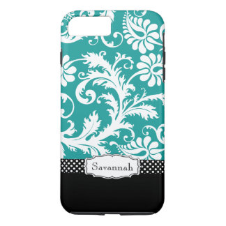Personalized Vintage Teal Damask iPhone 7 Plus Case