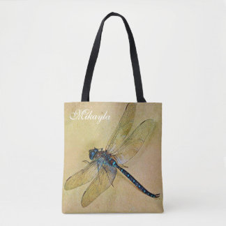 Personalized Vintage Tolstoy Blue Dragonfly Tote Bag