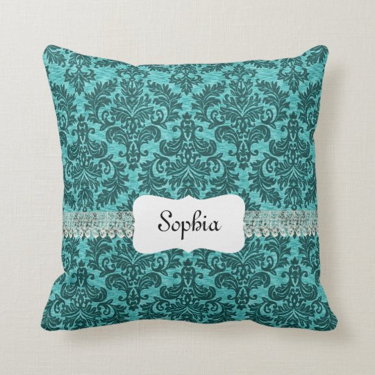 Personalized Vintage Turquoise Damask Throw Pillow
