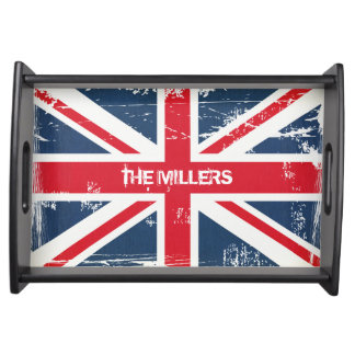 Personalized Vintage UK Flag Union Jack Serving Tray