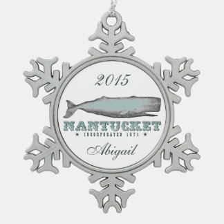 Personalized Vintage Whale Nantucket Massachusetts Pewter Snowflake Ornament