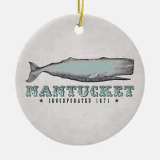 Personalized Vintage Whale Nantucket Massachusetts Round Ceramic Ornament