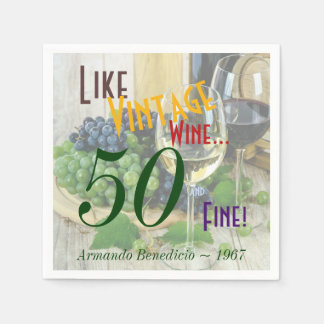 Personalized Vintage Wine and Fine Paper Napkins