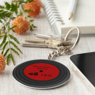 Personalized Vinyl Record Design Keychain