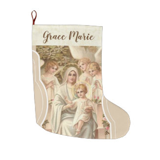 Personalized Virgin Mary with Jesus & Angels Large Christmas Stocking