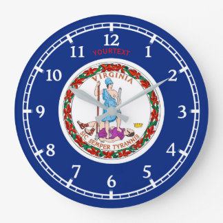 Personalized Virginia State Flag Design on a Large Clock