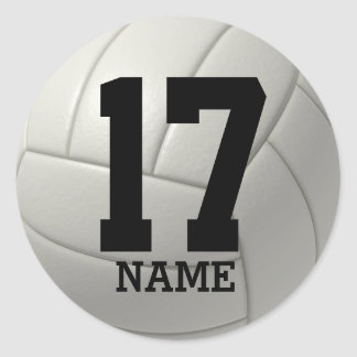 Personalized Volleyball (add your name and number) Classic Round Sticker