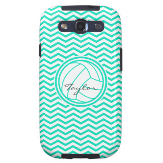 Personalized Volleyball Aqua Green Chevron Samsung Galaxy SIII Cases