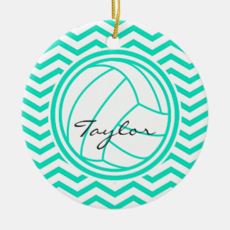 Personalized Volleyball; Aqua Green Chevron Ceramic Ornament
