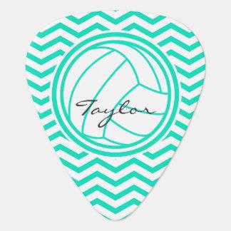 Personalized Volleyball; Aqua Green Chevron Guitar Pick