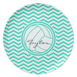Personalized Volleyball Aqua Green Chevron Dinner Plates