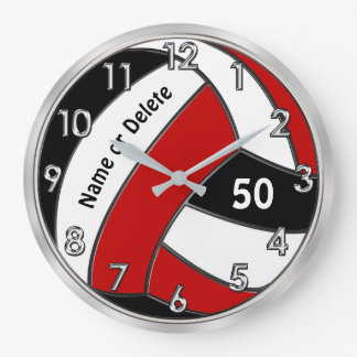 Personalized Volleyball Clock, Volleyball Bedroom Large Clock