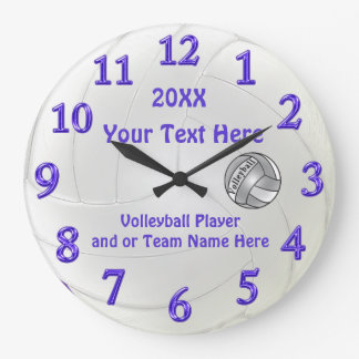 Personalized Volleyball Clocks with 3 Text Boxes