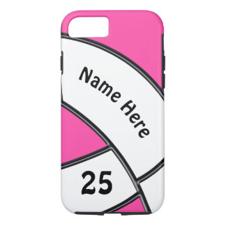 Personalized Volleyball Phone Cases Pink and White