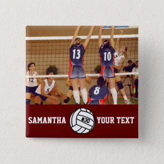 Personalized Volleyball Photo Name Team # 2 Inch Square Button