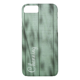Personalized w/ Photo of Green Rustic Wood Wall Case-Mate iPhone Case