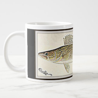 Personalized Walleye Pike Fish Large Coffee Mug
